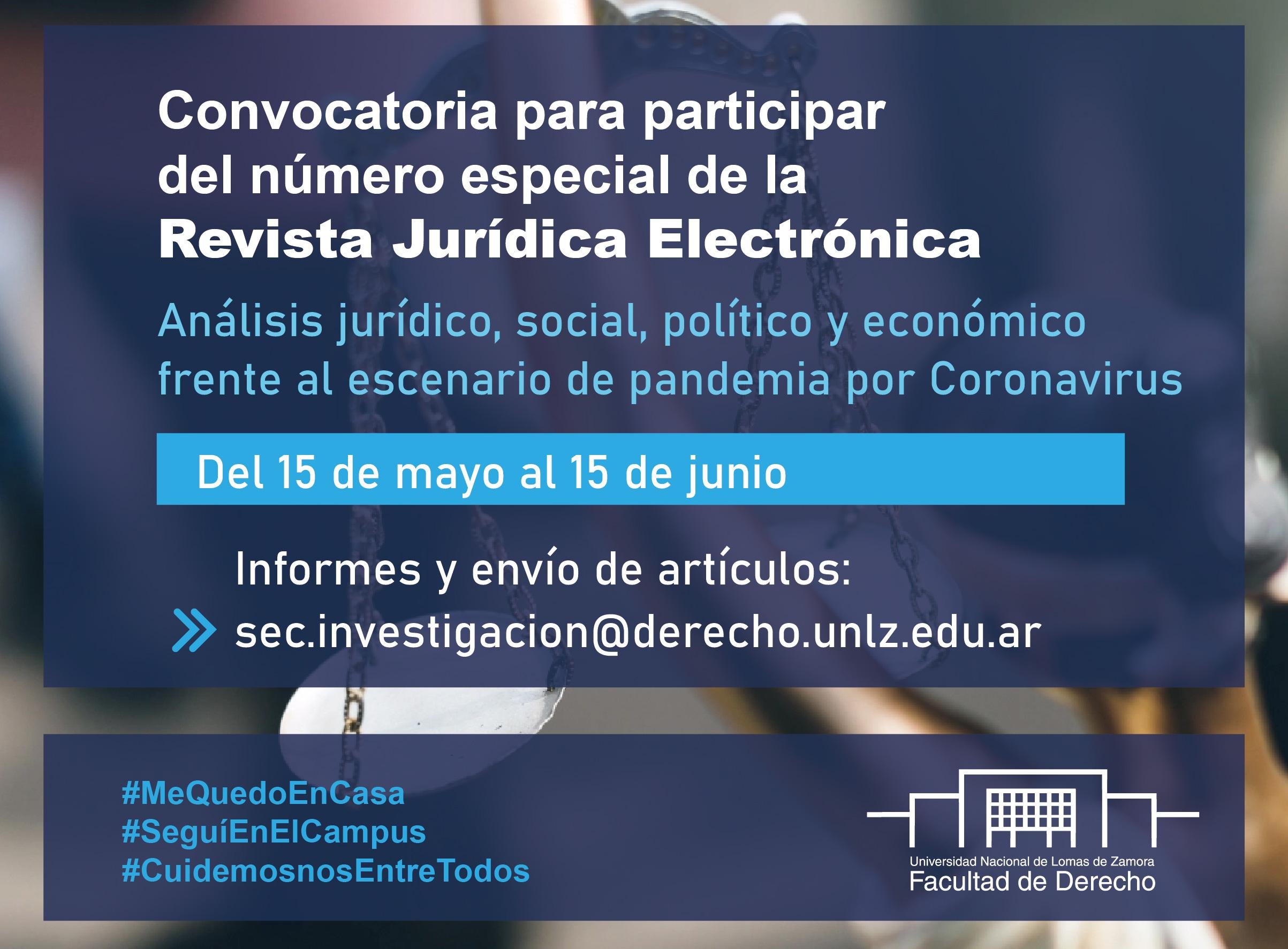 Convocatoria para participar del número especial de la Revista Jurídica Electrónica